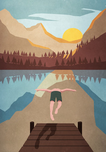 Man jumping off dock into tranquil mountain lakeのイラスト素材 [FYI04323747]
