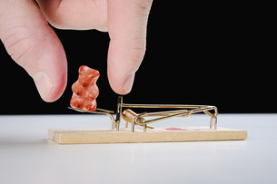 Fingers reaching for gummy bear candy on mousetrapの写真素材 [FYI04323787]