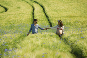 Affectionate pregnant couple holding hands, walking in sunny, idyllic rural green fieldの写真素材 [FYI04323817]