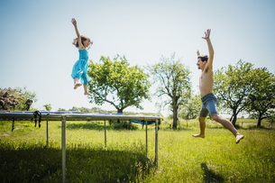 Playful father and daughter jumping on trampoline in sunny summer back yardの写真素材 [FYI04323818]