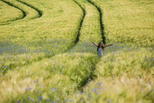Portrait carefree girl with arms outstretched in sunny, idyllic rural field with wildflowersの写真素材 [FYI04323834]