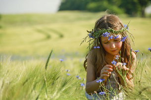 Curious girl with wildflowers in hair in sunny, rural wheat fieldの写真素材 [FYI04323845]
