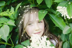 Portrait girl with flowers in hair in blooming bushの写真素材 [FYI04323851]