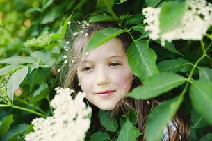 Portrait serene girl standing in flowering bushの写真素材 [FYI04323867]
