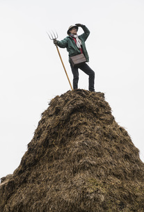 Farmer with pitchfork standing on top of hay heapの写真素材 [FYI04323921]