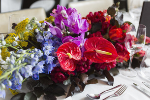 Still life vibrant, tropical table bouquetの写真素材 [FYI04324196]