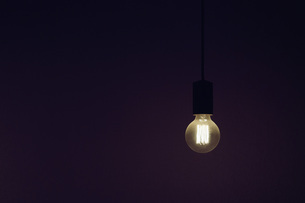 Vintage electric light bulb illuminated against black backgroundの写真素材 [FYI04324207]