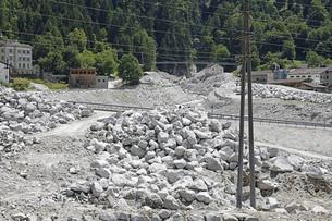 Mudslide rubble repair, Bregaglia, Bondo, Graubuenden, Switzerlandの写真素材 [FYI04324231]