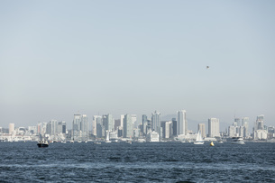 Sunny waterfront cityscape view, San Diego, California, USAの写真素材 [FYI04324245]