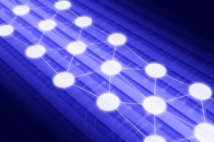 線で繋がる光る円 CGのイラスト素材 [FYI04330367]