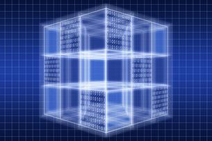 光る立方体と二進法 CGのイラスト素材 [FYI04330375]