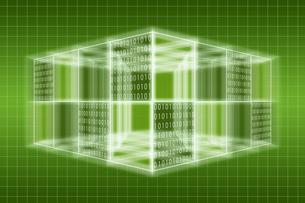 光る立体的な四角形と二進法 CGのイラスト素材 [FYI04330376]
