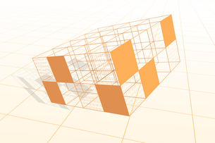 立体的な四角形と二進法 CGのイラスト素材 [FYI04330378]