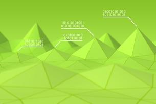 立体的な三角形の模様と二進法 CGのイラスト素材 [FYI04330383]