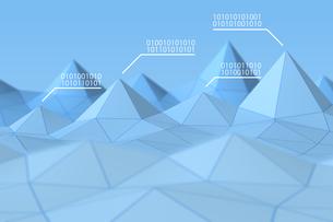 立体的な三角形の模様と二進法 CGのイラスト素材 [FYI04330384]