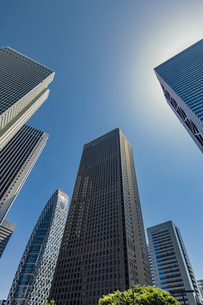 西新宿の高層ビル群と青空の写真素材 [FYI04330478]
