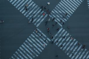 数寄屋橋交差点と行き交う人々の写真素材 [FYI04330576]