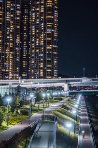豊洲ぐるり公園とタワーマンションの夜景の写真素材 [FYI04330587]