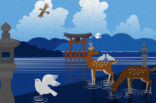 厳島神社の大鳥居と鹿と鳥たち イラストのイラスト素材 [FYI04330726]