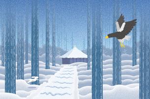 雪景色の中尊寺 イラストのイラスト素材 [FYI04330727]