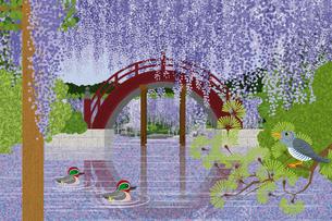 藤の花咲く亀戸天神 イラストのイラスト素材 [FYI04330729]