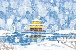 雪景色の金閣寺 イラストのイラスト素材 [FYI04330730]