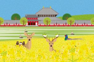 春の東大寺と動物たち イラストのイラスト素材 [FYI04330740]