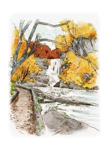 水彩画 紅葉と渓流のイラスト素材 [FYI04330781]