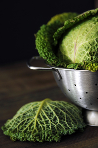 Savoy cabbage in strainer, close-upの写真素材 [FYI04332804]