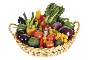Variety of vegetables in basket, elevated viewの写真素材 [FYI04332817]