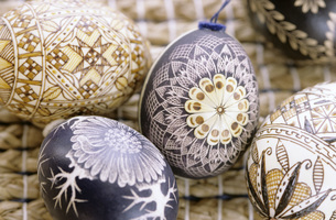 Bauble, Easter eggs, close-upの写真素材 [FYI04332843]