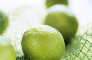 Limes in net, extreme close upの写真素材 [FYI04332844]
