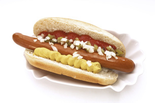 Hot Dog with mustard and ketchupの写真素材 [FYI04332880]