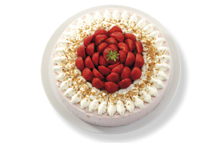 Strawberry-cream cake, close-upの写真素材 [FYI04333023]
