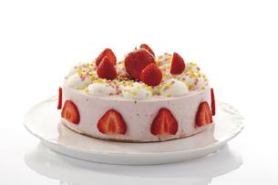Strawberry-cream cake, close-upの写真素材 [FYI04333024]
