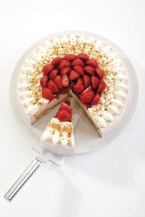 Strawberry-cream cake, close-upの写真素材 [FYI04333026]