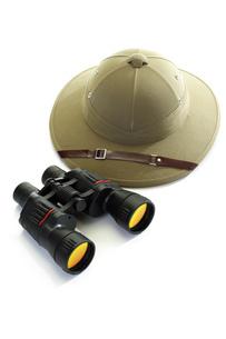 Pith Helmet and binocularsの写真素材 [FYI04333102]