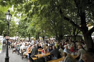 Germany, Bavaria, Munich, Beer garden, Viktualienmarktの写真素材 [FYI04333130]