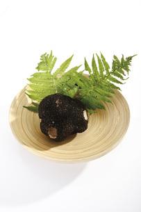 Black Truffle on wooden plateの写真素材 [FYI04333302]