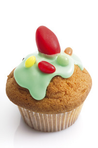 Easter muffin with sugar icingの写真素材 [FYI04333329]
