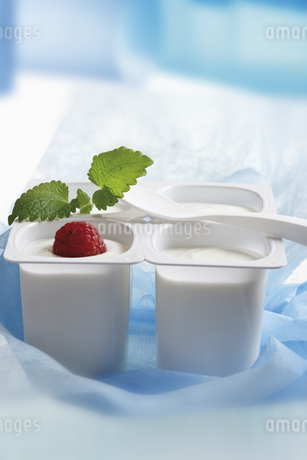 Four open yoghurt cups with fruit and mint leaf, close-upの写真素材 [FYI04333470]