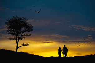 Couple in love at romantic landscapeの写真素材 [FYI04333521]