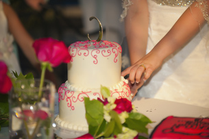 USA, Texas, Young bride cutting wedding cakeの写真素材 [FYI04333526]