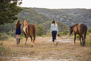 USA, Texas, Sisters walking with Quarterhorses near mountainの写真素材 [FYI04333537]