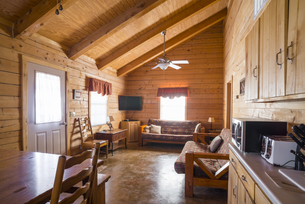 USA, Texas, interior of rustic log home cabinの写真素材 [FYI04333562]