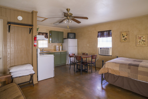 USA, Texas, simple, rustic guest home studio interior with sの写真素材 [FYI04333568]