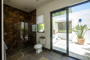 Toilet and shower in a residential homeの写真素材 [FYI04333656]