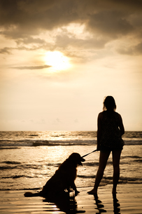 Mexico, Nayarit, silhouette of young woman with her dog on aの写真素材 [FYI04333665]