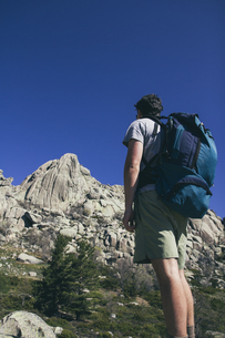 Spain, hiker with a backpack Regional Park La Pedrizaの写真素材 [FYI04333792]