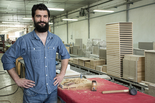 Portrait of carpenter smiling in a factoryの写真素材 [FYI04333808]